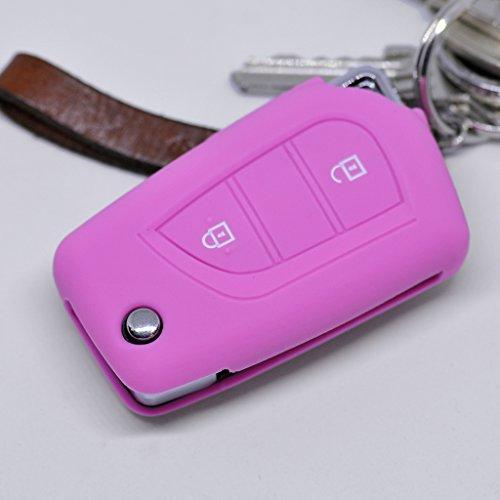 Soft Case Schutz Hülle Auto Schlüssel für Toyota Aygo Citroen C1 Peugeot 108 / Farbe: Rosa