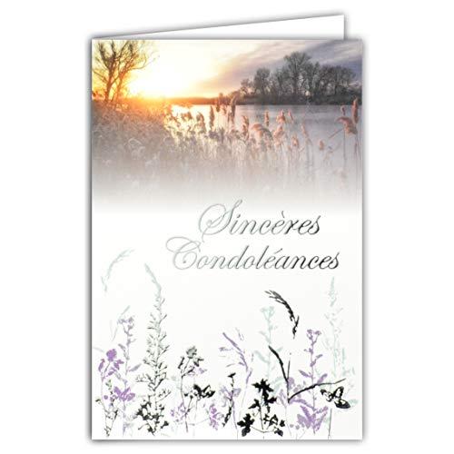 Afie 64-1060 Carte Sincères Condoléances Gris Argenté Brillant Décès Deuil Paysage Soleil Couchant Eau Lac Arbres Herbes Graminées Fabriqué en France