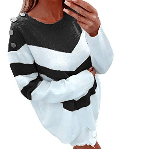 Fantastic Prices! Kiminana Women's Round Neck Pullover Long Sleeve Color Matching Sweater Sweater Ho...