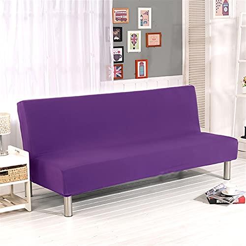 XJHKG Color Sólido Sofá Cama Cubiertas Sin Apoyabrazos Elástico Tight Wrap Cubierta del Sofá Stretch Flexible Slipcovers Sofá (Color : Purple, Specification : L)