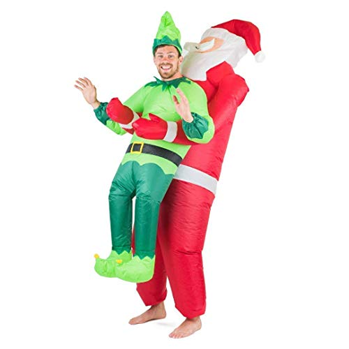 Bodysocks Fancy Dress Erwachsenen aufblasbares Weihnachtsman und Elfen Kostüm