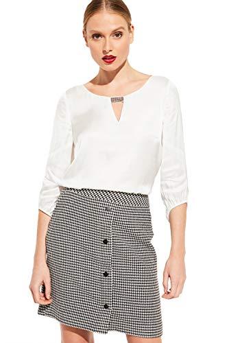 Comma dames satijnen blouse met 3/4 mouwen veredeld met Swarovski® kristallen