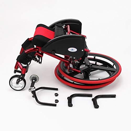 Sisyria Tragbarer Klapprollstuhl, Transportsportrollstuhl Rollstuhl mit Eigenantrieb und Kippschutz