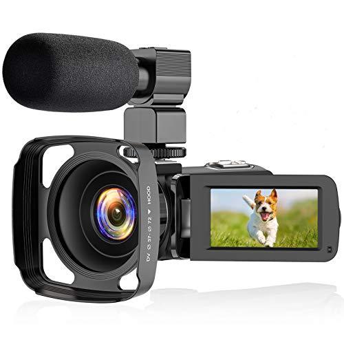 ZORNIK Camcorder, IR Nachtsicht Videokamera HD 1080P 36MP 16X Digital Zoom 3.0 Zoll LCD 270 Grad drehbarer Bildschirm Vlogging Kamera (2.7K-01)