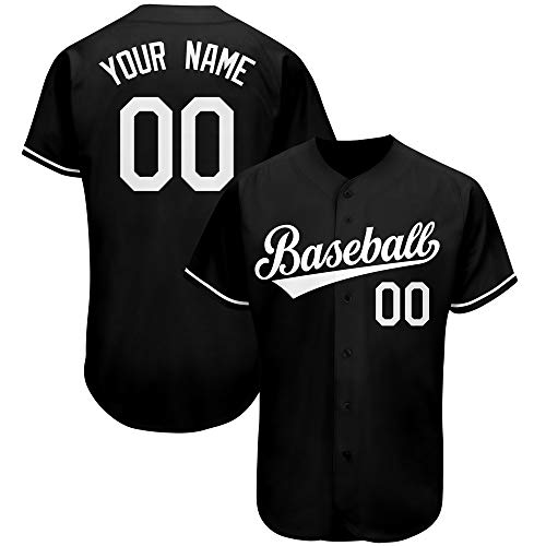 Custom Baseball Jersey with Embroidered Personalized Design Team/Your Name and Numbers Button Down Sports Shirts S-4XL Black/White