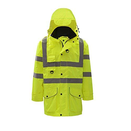 Chaqueta impermeable de seguridad Reflectante Policía abrigo impermeable motocicleta Seguridad chaquetas Ropa Visibilidad Ropa de Trabajo Lluvia chaqueta larga chaqueta impermeable de la lluvia con ca