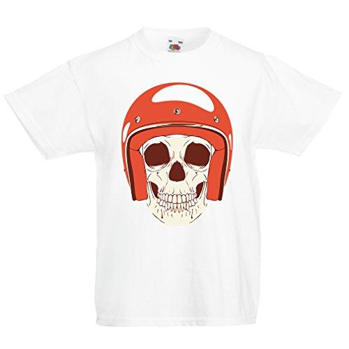 N4367K La Camiseta de los niños Cráneo Moto (3-4 Years Blanco Multicolor)