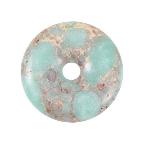 HEALLILY Piedra Preciosa Turquesa Donut Colgante Piedra Cuentas DIY Artesanía Collar Pulsera Joyería Hacer Encontrar Accesorios 40Mm