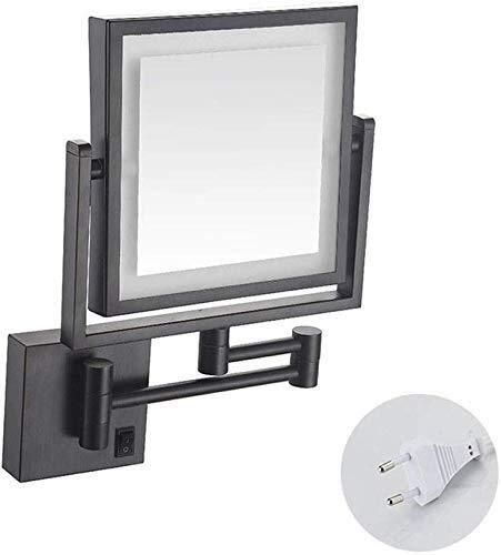 Espejo Maquillarse A Doble Cara de Maquillaje Espejo Cuadrado, Espejo de baño 3X Magnificación Encendido LED, Acabado en Cromo retráctil for baño Espejo de Pared (Color : Black)