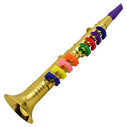 Fesjoy Strumenti Musicali a fiato per Bambini, Clarinetto Musicale per fiati per Bambini Clarinetto in Oro Metallico ABS con 8 Tasti Colorati