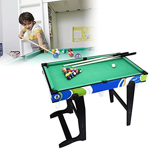 HIMAPETTR Mesa De Billar Mesa Snooker Plegable con Tacos, Bolas Y Triángulo, Verde, Mini, Juguete Regalo Ideal para Sus Familiares Y Sus Niños(79x43.5x66cm)