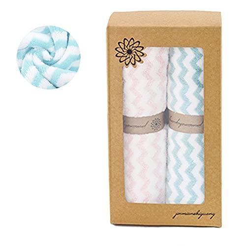 Juego de 2 toallas de baño, 35 x 75 cm, microfibra, caja de regalo, diseño clásico, suave y absorbente, azul y rosa claro
