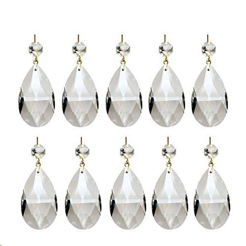 Adecco LLC 10Pcs Clear Crystal Teardrop Chandelier Prism Pendants Shiny Glass Crystals Beads for Light Lamp, Jewelry Making. (Teardrop)