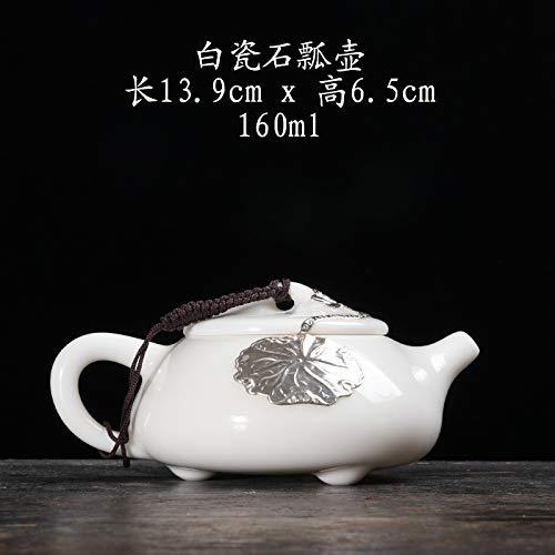 Dehua Blanco Porcelana Set de Tetera Plateada Jade Blanco cerámica de Estilo japonés Filtro de Tetera Kung fu Set de té pequeño Tetera hogar Olla Individual