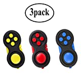 glacely 3pack Fidget Pad - 9 Fidget Features - Perfect for Skin Picking, ADD, ADHD, Anxiety and Stress Relief - Multi Color Rainbow on Black - Prime Ready and Shipped by Amazon