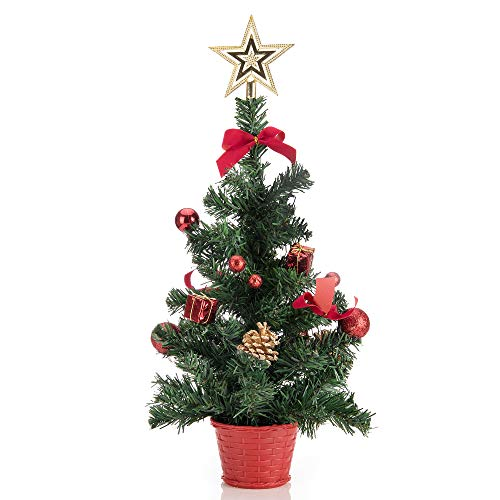 ARCCI Tabletop Mini Christmas Tree with Gift Box and Xmas Balls Ornaments Decoration, Artificial Xmas Pine Tree