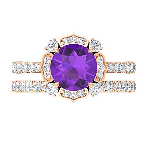 Rosec Jewels 14 quilates oro rosa redonda Round Brilliant violeta Amethyst Moissanite