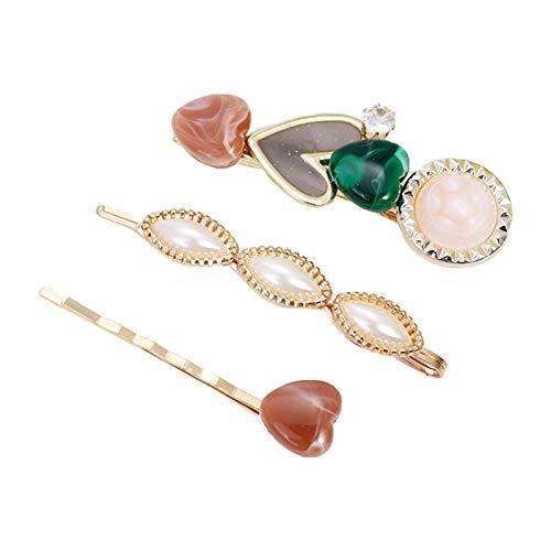 Horquillas para el pelo para mujer, 3 unidades/set de perlas de imitación con diamantes de imitación, 1970