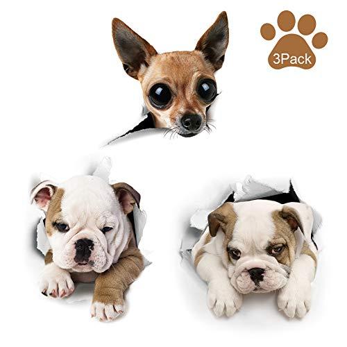Wandsticker Wandaufkleber 3D Hunde Wandtattoo Kombination WC-Aufkleber Wasserdichte Kühlschrankaufkleber Türaufkleber für Toilette Badezimmer Schlafzimmer Kinderzimmer Küche