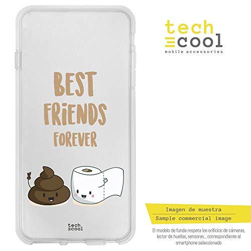 Funnytech Cover Samsung Galaxy S6 Edge Custodia in Silicone (TPU) per Samsung Galaxy S6 Edge [Design Esclusivo, Stampa ad Alta Definizione] [Best Friends Papel y caca Fondo Transparente]