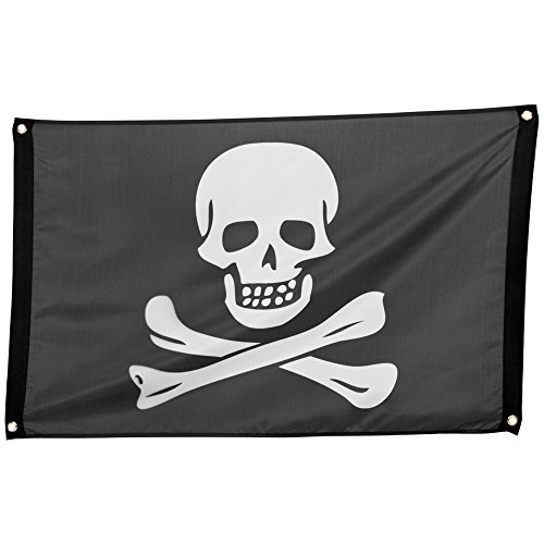 com-four Bandiera Pirata con Teschio e Ossa Incrociate Come Decorazione per Mardi Gras, Halloween e Feste a Tema, Compleanni - la Bandiera Teschio, Jolly Roger (01 Pezzo - 90x60 cm)