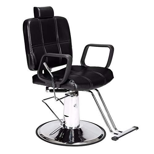 HSTD Silla de Peluquero - Silla giratoria Ajustable, Corte de Pelo reclinable Silla de Mujer Silla de peluquería (Negro)
