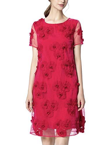 APART Fashion Dames Mesh Jurk Feestjurk, roze, 34 NL