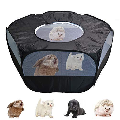 Corralito para animales pequeños con cubierta, cerca de patio de corralito de ejercicio anti escape portátil al aire libre impermeable portátil