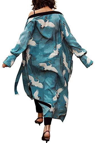 YouKD Damen Sommer Baumwolle Langarm Cardigan Maxi Boho Kleid Strand Vertuschung Robe Lang Kimono One Size