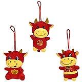 STOBOK 3 Stück Chinesische Neujahr Ochsen Plüschtier 2021 Glück Kuh Plüsch Ornament Rot Maskottchen Ochsen Spielzeug für 2021 Chinesische Tierkreis Ochsen Neujahr Festival Heimdekoration