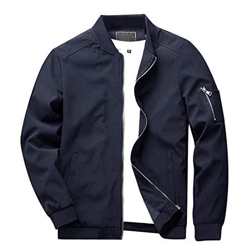 KEFITEVD College Jacke Herren Pilotenjacke Männer Blouson Windjacke Baseball Jacket Modisch Fliegerjacke mit Stehkragen Herbstjacke Freizeitjacke Dunkelblau M (Etikett: L)