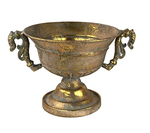 Pokal Amphore Dekovase Vase Blumenvase Antik Metall Vintage Deko Retro Design (LN30-5 Gold)