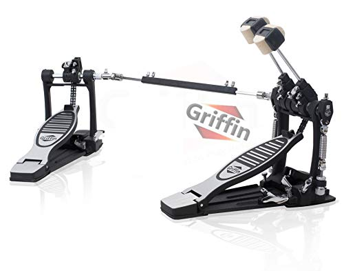 Deluxe Double Kick Drum Pedal for Bass Drum by GRIFFIN | Twin Set Foot Pedal | Quad Sided Beater Heads | Dual Pedal Two Chain Drive Percussion Hardware | Impressive Response for Metal & Rock Drummers