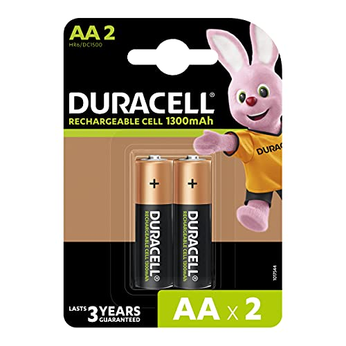 Duracell Rechargeable AA 1300mAh Batteries, Pack of 2