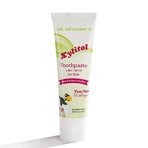 Branam Oral Health Xylitol Toothpaste for Kids Yum Yum Bubblegum, 4.2 Ounce