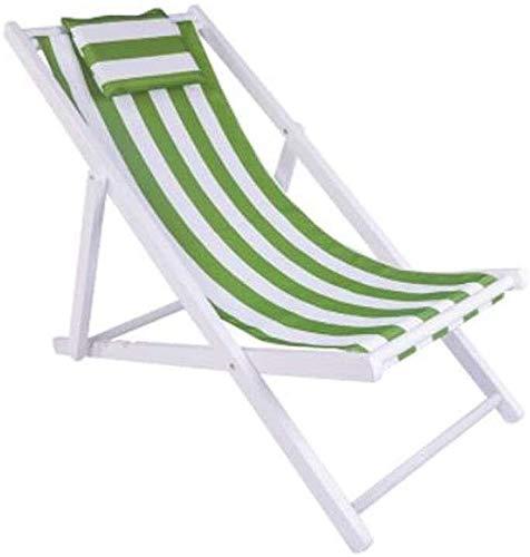 ADHW - Tumbona reclinable exterior, silla de exterior plegable para tumbona de playa, jardín o tumbona ligera, verde