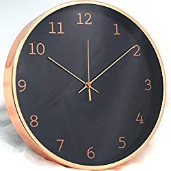 Comodo Casa Metal Wall Clock-Rose Gold Frame-Glass Cover-Non Ticking-Quartz Sweep-Silent 12 inch Luxury Clocks,Black