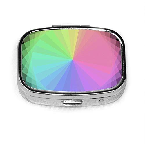 Pillendose - Pillendose mit 2 Fächern, quadratische Tablettenschachtel, kann für Geldbörse verwendet werden, Reise-Tablettenschachtel Sonnenschutzfarbe Glückliches...