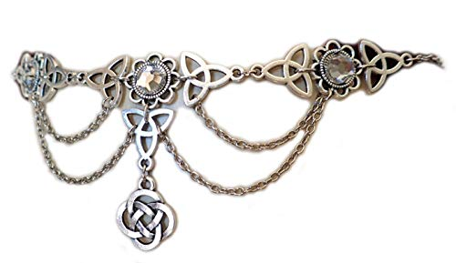 Moon Maiden Jewelry Celtic Triquetra Trinity Knot Draping Chain Headpiece Crystal