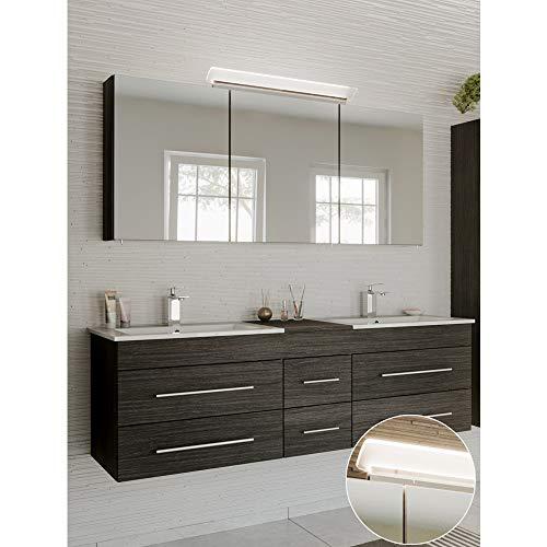 Lomadox Badmöbel Waschplatz Set, anthrazit gemasert, Doppel-Waschtisch mit Unterschrank, 2 Waschbecken, 140cm LED-Spiegelschrank