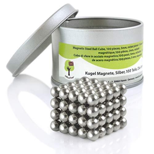 OfficeTree® 100 mini bolas magnéticas de neodimio de 5 mm de diámetro - Puzzle de dados - extra fuerte para pizarra magnética pizarra frigorífico