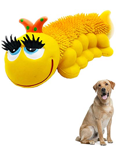Sensory Caterpillar - Squeaky Dog Toys - Soft, Natural Rubber (Latex) - for Puppies, Small Dogs & Medium Dogs - Complies with Same Safety Standards as Children