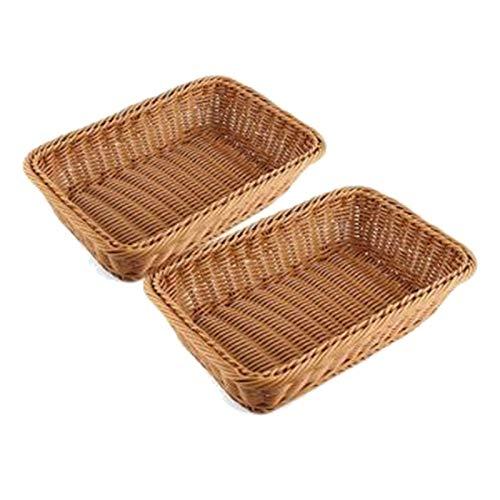 SODIAL Cesta Rectangular de 2 Piezas para Mesa o Mostrador para Pan, Frutas y Verduras Cestas de Mimbre para Mercados, PanaderíA
