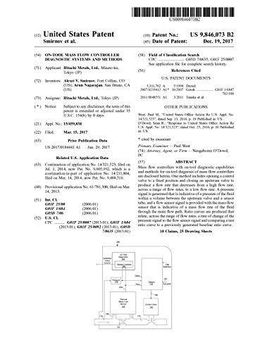 On-tool mass flow controller diagnostic systems and methods: United States Patent 9846073 (English Edition)