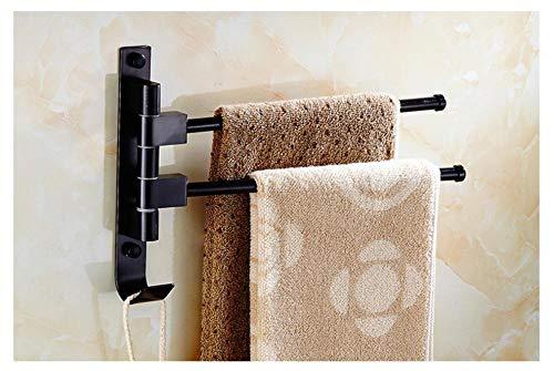 Europese zwarte aluminium badkamerhanddoekhouder draaiende staafhanddoekhouder hotelhanddoekhouder beweegbare palen aan de muur bevestigd 2 Poor