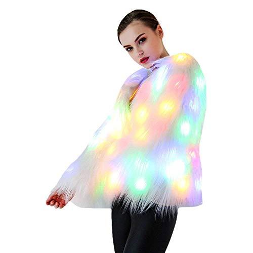 FXQ Soft de Piel Falsa con luz LED - Light Up señoras de la Ropa del Invierno Capa de la Chaqueta Larga Caliente de la Manga de Abrigo con los Trajes de Navidad de luz LED -para Escenario Mujeres