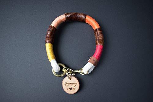 PINOLINO Halsband aus Tauwerk - Mit Leder und goldenem Karabiner von GOLDEN PAW (für kleine Hunde)