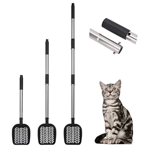 PUPTECK Metal Cat Litter Scoop Long Handle 20quot/30quot/40quot Three Levels Adjustable Clipon Litter Scooper with Detachable Deep Shovel Stainless Steel Non Stick Cat Litter Sifter