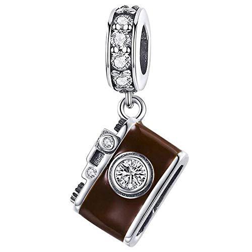 Kamera Charm Anhänger mit Emaille für Pandora 925 Sterling Silber