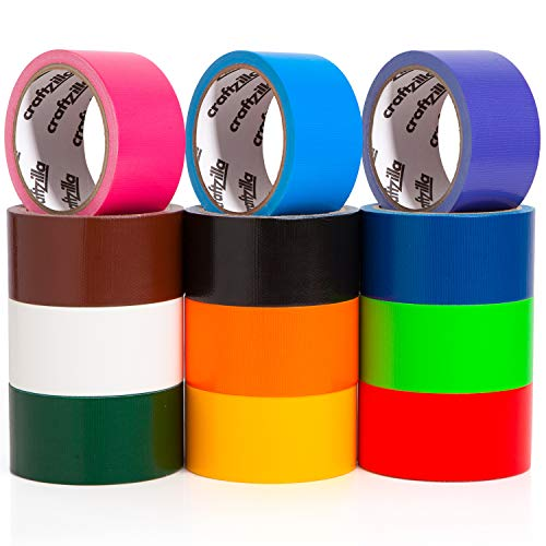 Craftzilla Rainbow Colored Duct Tape — 12 Bright Colors — 10 Yards x 2 Inch — No Residue, Tear by Hand & Waterproof — Great for Arts & Crafts, Color-Coding, and DIY Projects